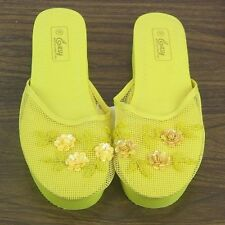 Women's Floral Beaded Sequin Rose Mesh Platform Slippers Shoes Sizes 6-11 New