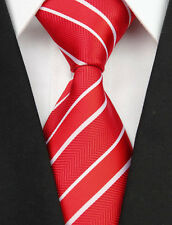 BNT0065 Red White Stripes Classic JACQUARD Woven Silk Men's Tie Necktie