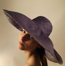 New Raffia Hat Lilac Hand Made Summer Style Beach Large Floppy Wide Brim