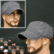 Cadet Box BUT GRAY Army Military CAP HAT Distressed Vintage Look Jean Unisex