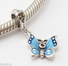 PETITE FLYING BUTTERFLY CHARM Bead Sterling Silver.925 for European Bracelet 734