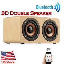 Wooden Portable Bluetooth Speaker 3D Dual Loudspeaker Wireless Surround USPS