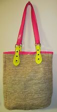 Rue 21 ect ! Tote Beach Bag Size Lg Woven Tan Pink Yellow Snap Closer
