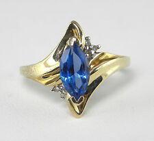 1.20 Carat London Blue Topaz Ring with Diamond Accents – 3.0gm 10KT Gold