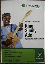 KING SUNNY ADE 2014 Gig POSTER Lagos Nigeria Concert