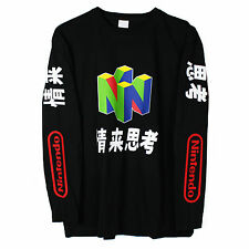 Nintendo N64 Long Sleeve T Shirt Top Vaporwave Japanese Sz M NEW