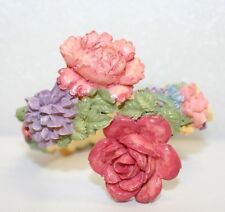 Vintage Gorgeous Colorful Carved Celluloid Floral Bracelet