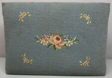 "EMBROIDERED OAK FOOT STOOL__Vintage Floral Needlepoint__14.5""x10.5""__SHIPS FREE"