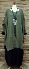 "LAGENLOOK 100%COTTON OVERSIZE LONG JUMPER/TUNIC*GREEN*BUST UP TO 60""OSFA XL-XXXL"