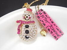 Betsey Johnson Cute inlay Crystal Snowman Pendant Necklace # A258