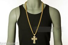 Mens Heavy Steel Iced HipHop Cross Necklace Chain 18K Gold Plated Jesus Pendant