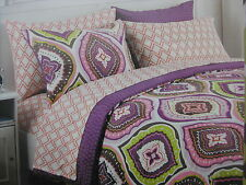 NEW CYNTHIA ROWLEY NEW YORK TWIN / TWIN XL MINI-DUVET SET PURPLE PINK GREEN NIP
