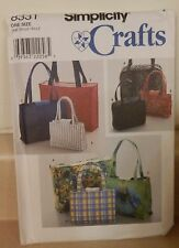 Simplicity Crafts Pattern Makes Different Styles of Handbags & Totes UNCUT