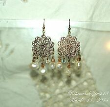 HANDCRAFTED BAROQUE WHITE NATURAL PEARLS  GLASS BEADS FILIGREE PIERCED EARRINGS