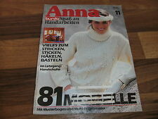 ANNA 11/1984 -- LEHRGANG: HANDSCHUHE // STRICKEN - STICKEN - HÄKELN - BASTELN