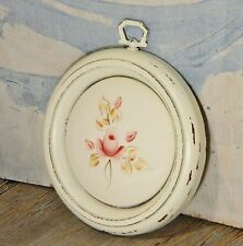 Wall Plaque/Round Ceramic Tile/Pink Rose/White Wood Frame/Shabby Cottage Chic