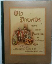 Victorian Colorplate Old Proverbs with Pictures By Lawson Illust Greenaway Style
