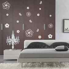 Black Flowers Art Glass Wall Stickers Vinyl Mural Decals Removable Bedroom