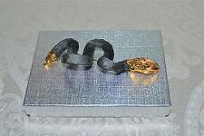 NEW $344 Alexis Bittar Alexandria Lg Snakeskin Pin Brooch Black 18K Gold Plate