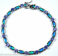 Tanzanite & Blue Fire Opal Inlay 925 Sterling Silver Link Tennis Bracelet 7.5''