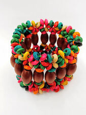 Fashion Stylish Multi-Color  Wooden Beads Stretch Elastic Wide Bracelets