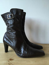 LAVORAZIONE ARTIGIANA LADIES BROWN LEATHER ANKLE BOOTS UK8