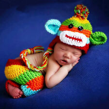 Crochet Newborn Photography Boys Girls Knit Monkey Hat Baby Photo Props Custome