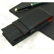 Wancher Real Calfskin leather Black and Orange fountain pen Case 3 pens new