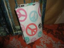 POTTERY BARN TEEN PB BERKELEY PEACE FULL FLAT SHEET PINK BROWN AQUA GREEN ORANGE