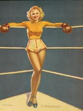Early Elvgren Art Pinup Girl Blonde Boxer w/ Boxing Gloves Vintage 1940's MINT !