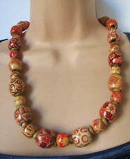 wooden beaded necklace red brown chunky ethnic boho drum bead  & gift bag