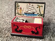 1993 Oldham Studio DOLLHOUSE MINIATURE Hand painted Sea Chest Dolphins Mermaids