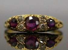 Antique 18Carat Yellow Gold Ruby Three Stone Ring w/ Diamonds (Size N)