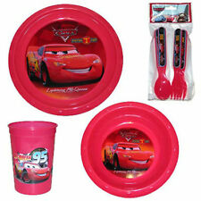 7pc Dining Set Plate Bowl Cup Spoon Fork Cars McQueen NEW