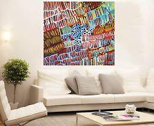 Aboriginal Oil Art Painting large canvas  jane crawford grubs 800mm x 800mm COA