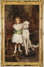 Free shipping oil painting nice young girl standing wearing white dress & dog
