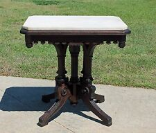 Eastlake Victorian Walnut Marble Top Fancy Parlor Center Lamp Table c1880's