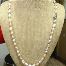 24inches 7-8mm Baroque Natural Multi-Color Real Pearl Necklaces AA