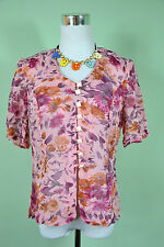 Vtg 80s Ladies Casual Summer Chiffon Floral VNeck Short Sleeve Blouse Shirts z M