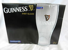 Pair of Luminarc Guinness Pint Glass / Glasses - Vintage Design - BNIB (A)