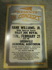 Hank Williams, Jr Billy Joe Royal 1988 Greenville, SC concert poster window card