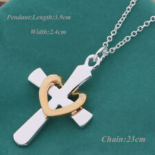 Fashion Silver Plated Charm Chain Cross Heart Pendants Lady Women Necklace Nice