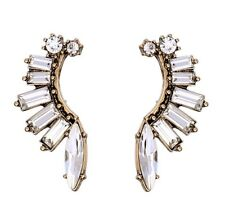 MARQUISE BAGUETTE CLEAR WHITE CRYSTAL RHINESTONE Flower Leaf Drop Stud Earrings