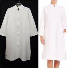 NATORI WOMENS ZIP CAFTAN SMALL S WHITE ROBE NIGHT JACKET HOUSE COAT DESIGNER WOW