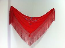 Manton rojo bordado colores disfraz flamenca niña // red shawl flamenco costume
