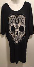 New Goth Punk Rockabilly Black Sugar Skull Embroidered Tunic Dolman Dress 3x