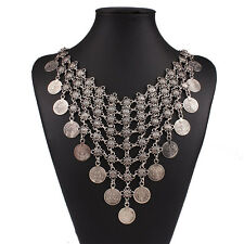 Hot Gypsy Bohemian Ethnic Tribal Boho Coin Statement Bib Necklace Festival India