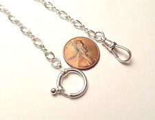 VINTAGE STERLING SILVER 925 POCKET WATCH HOLDER CHAIN FOB SWIVEL CLASP 13 7/8""