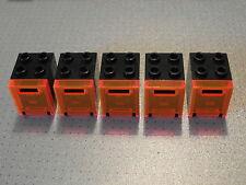 Lego - 5 noir & trans-orange récipient / Post / mail boxes 2x2x2 (4345 369)