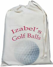 PERSONALISED - GOLF BALLS BAG - SMALL NATURAL COTTON DRAWSTRING BAG -Pink design